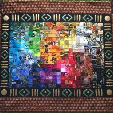 "Using 2"" squares made from African fabrics this watercolor art quilt pattern results in a unique abstract art quilt. With the use of the Color Wheel and arranging the fabrics in the VIBGYOR order and intermixing them creates a stunning effect. Size 4x5 ft"