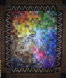 "A mosaic art quilt with 2"" squares arranged using the VIBGYOR sequence. Size:3x4 ft"
