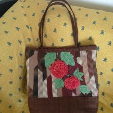 Brown bag with orange flowers (M)