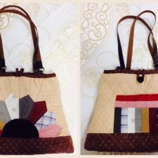 Brown patchwork bag with pocket