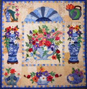 Roseville is a pattern by Maggie Walker. A beautiful floral art quilt with many small appliqués flowers.