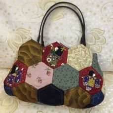 Japanese dolls hexagonal handbag (S)