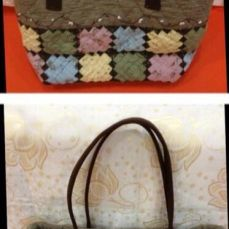 Japanese fabric brown bag (L)